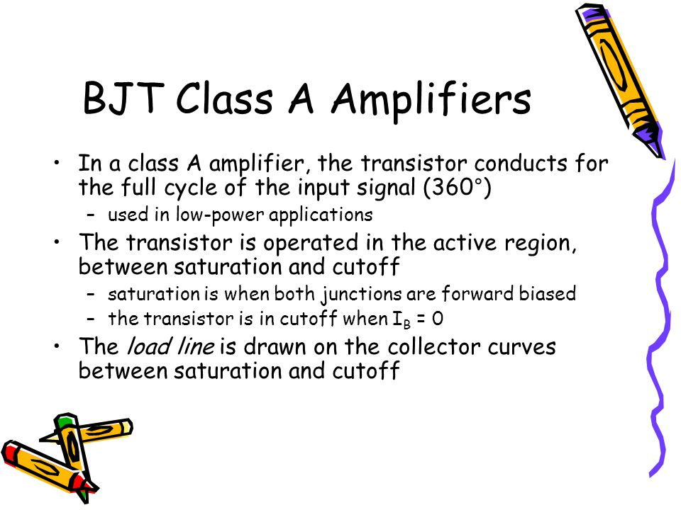 BJT Class A Amplifiers In a class A amplifier, the transistor conducts for the full cycle of the input signal (360°)