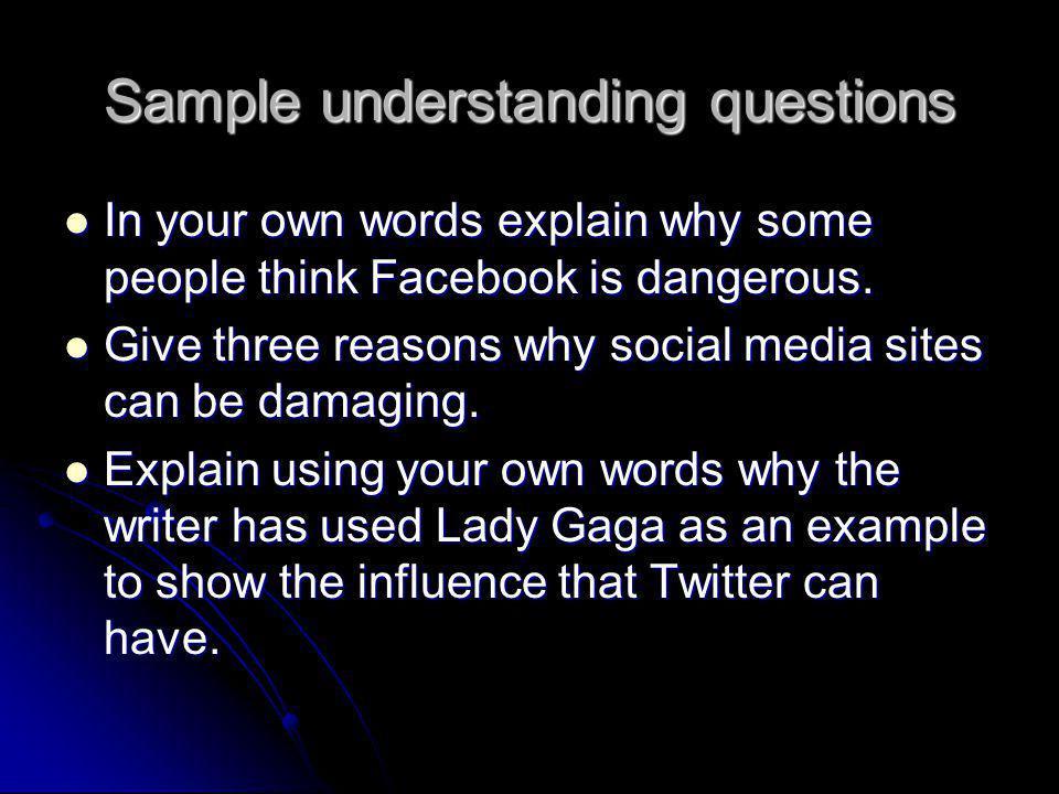Sample understanding questions