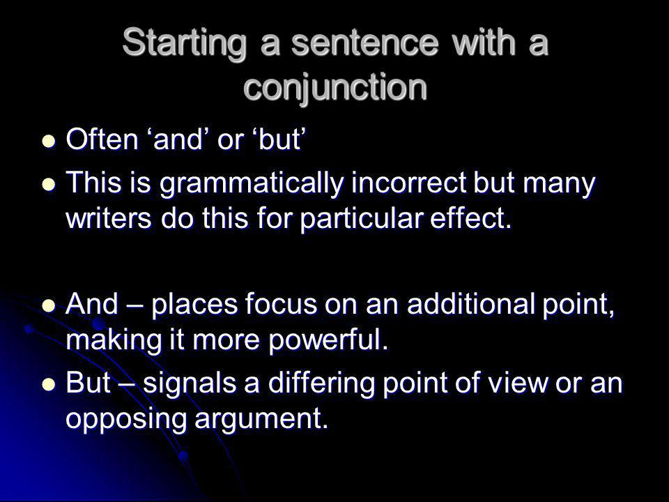 Starting a sentence with a conjunction