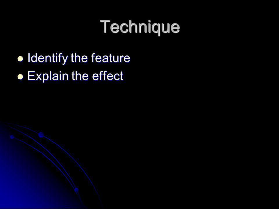 Technique Identify the feature Explain the effect