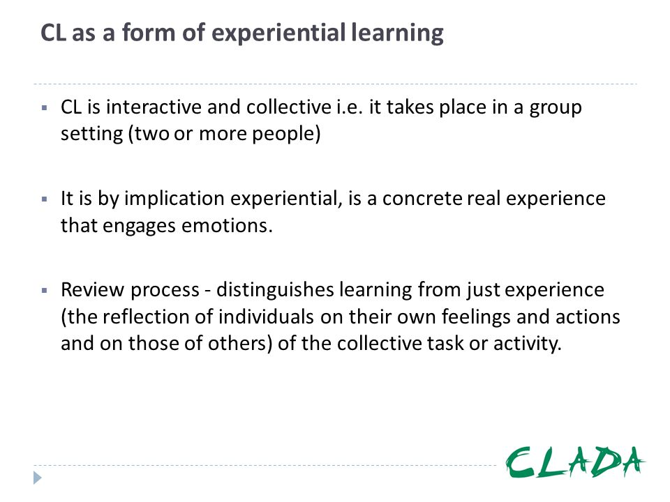 CL as a form of experiential learning