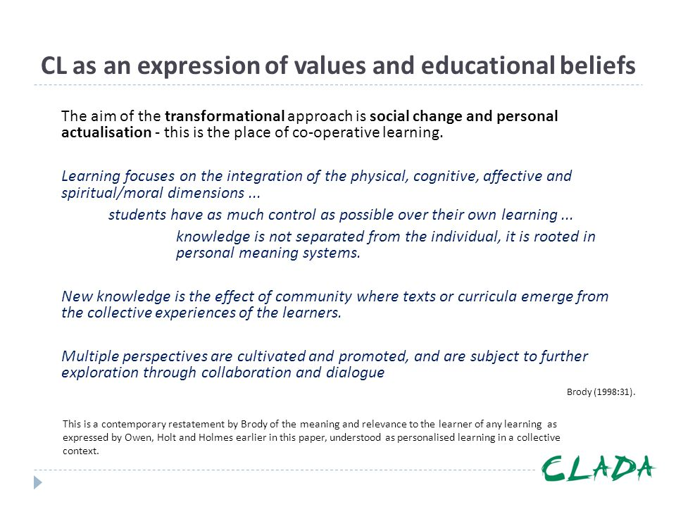 CL as an expression of values and educational beliefs