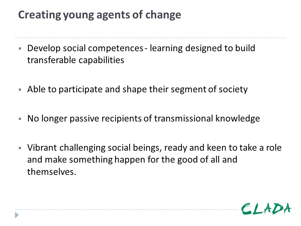 Creating young agents of change