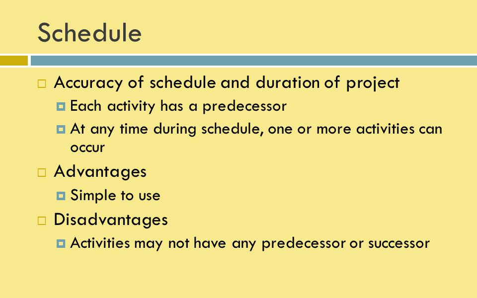 Schedule Accuracy of schedule and duration of project Advantages