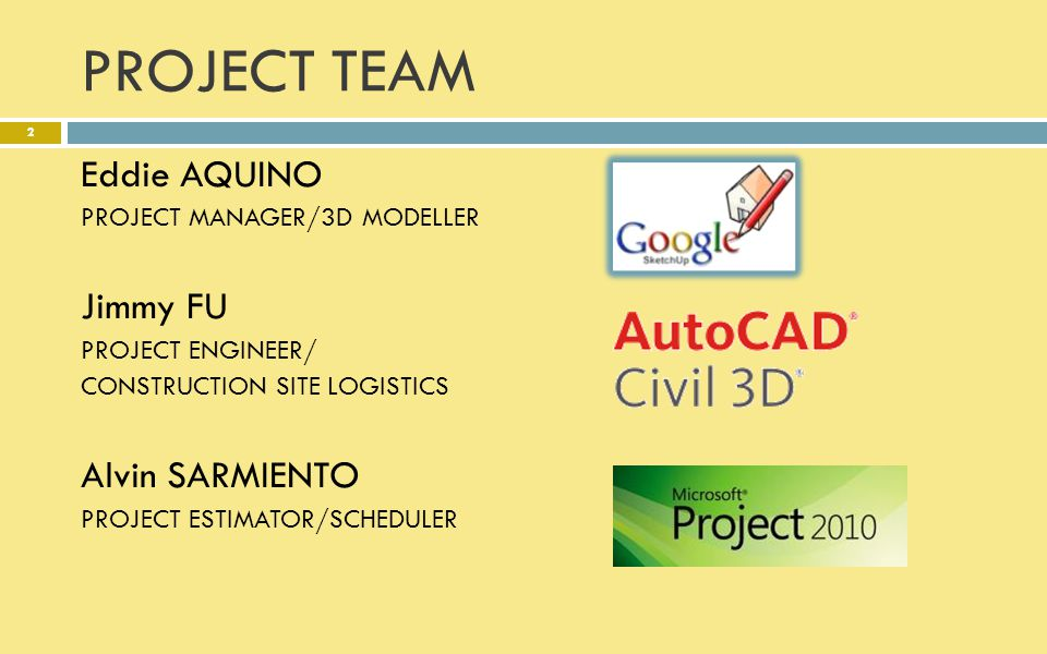 PROJECT TEAM Eddie AQUINO Jimmy FU Alvin SARMIENTO