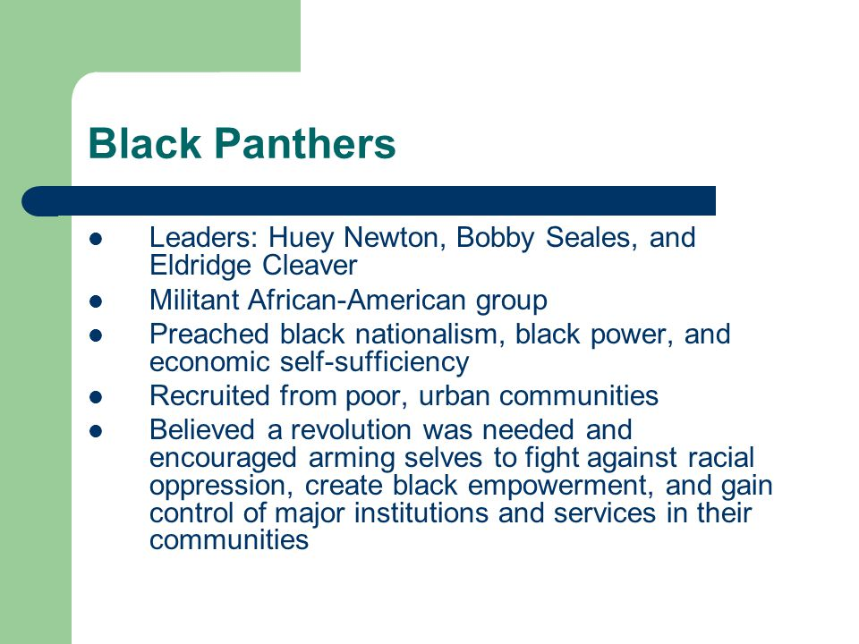 Black Panthers Leaders: Huey Newton, Bobby Seales, and Eldridge Cleaver. Militant African-American group.