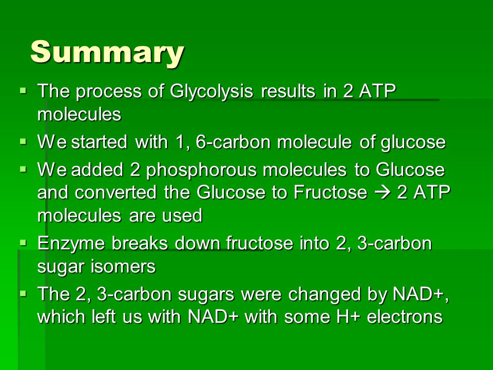 Summary The process of Glycolysis results in 2 ATP molecules