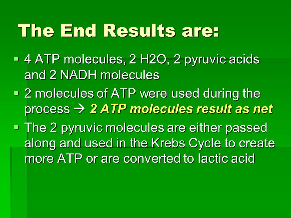 The End Results are: 4 ATP molecules, 2 H2O, 2 pyruvic acids and 2 NADH molecules.