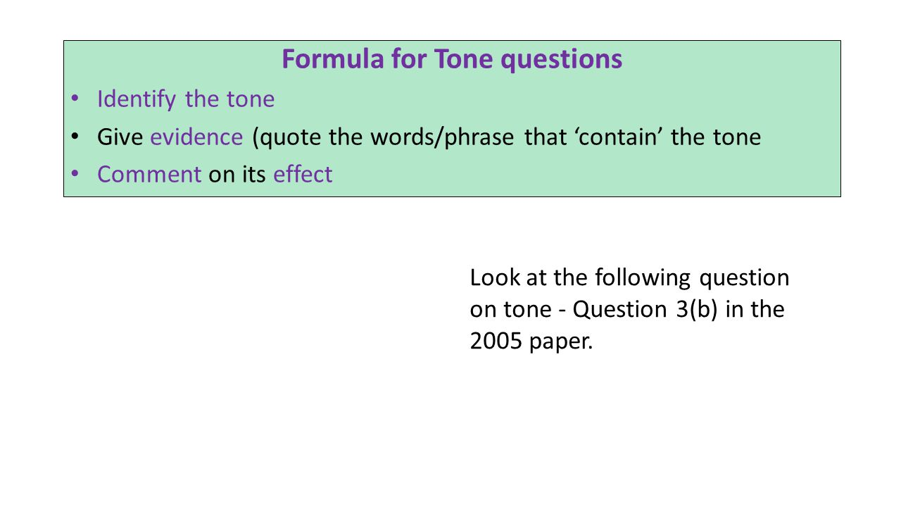 Formula for Tone questions