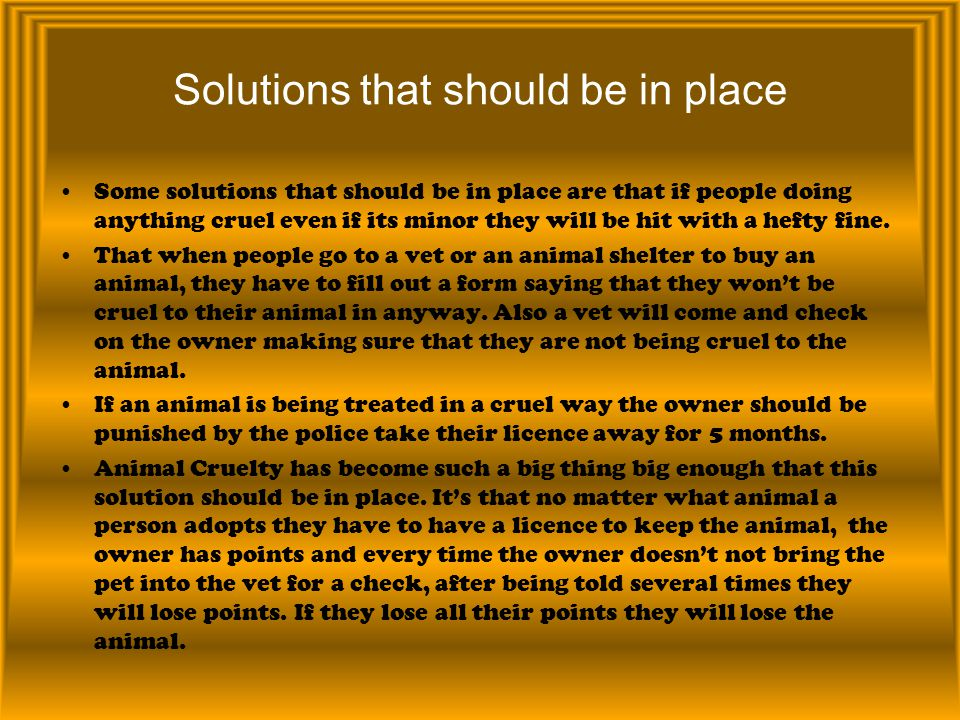 Solutions that should be in place