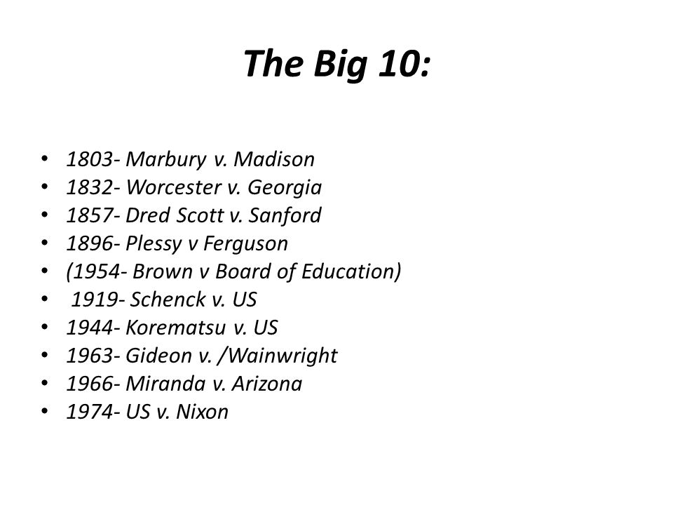 The Big 10: 1803- Marbury v. Madison 1832- Worcester v. Georgia