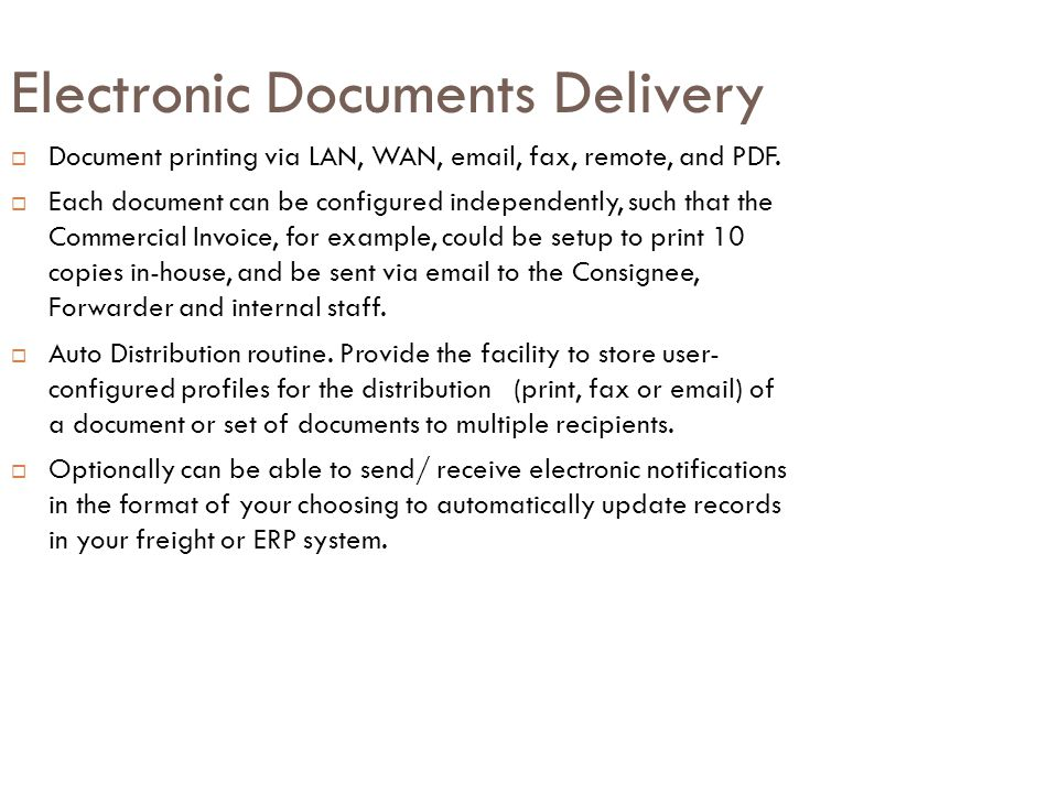 Electronic Documents Delivery