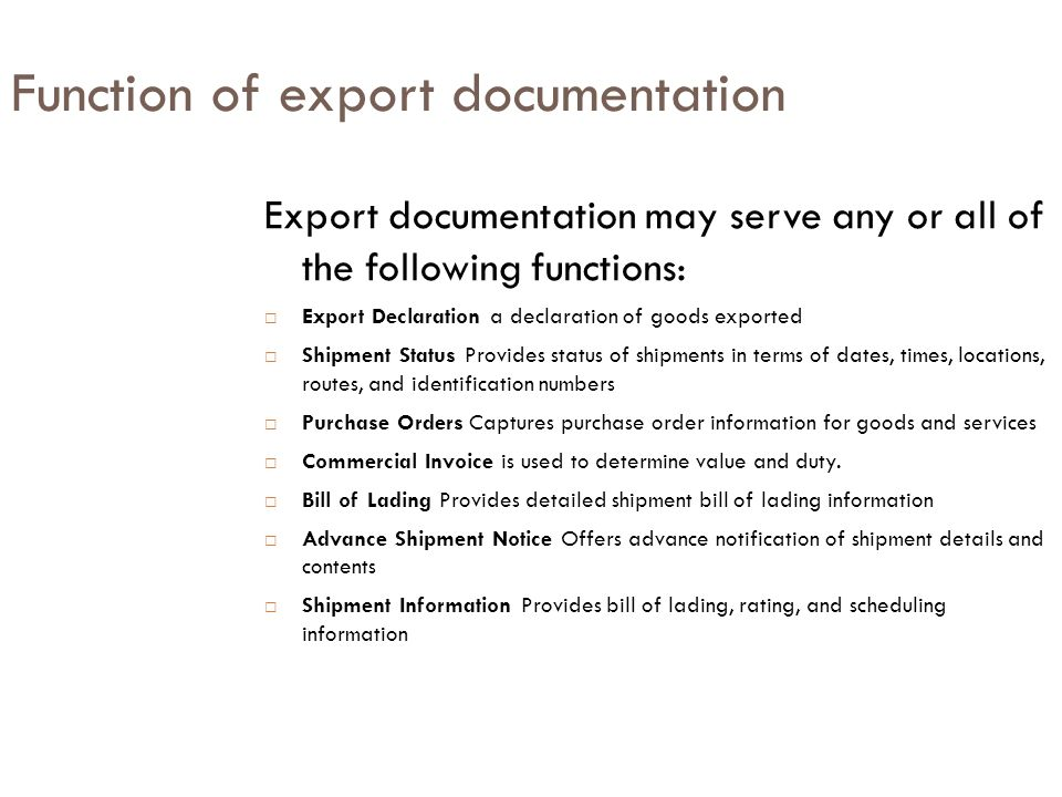 Function of export documentation