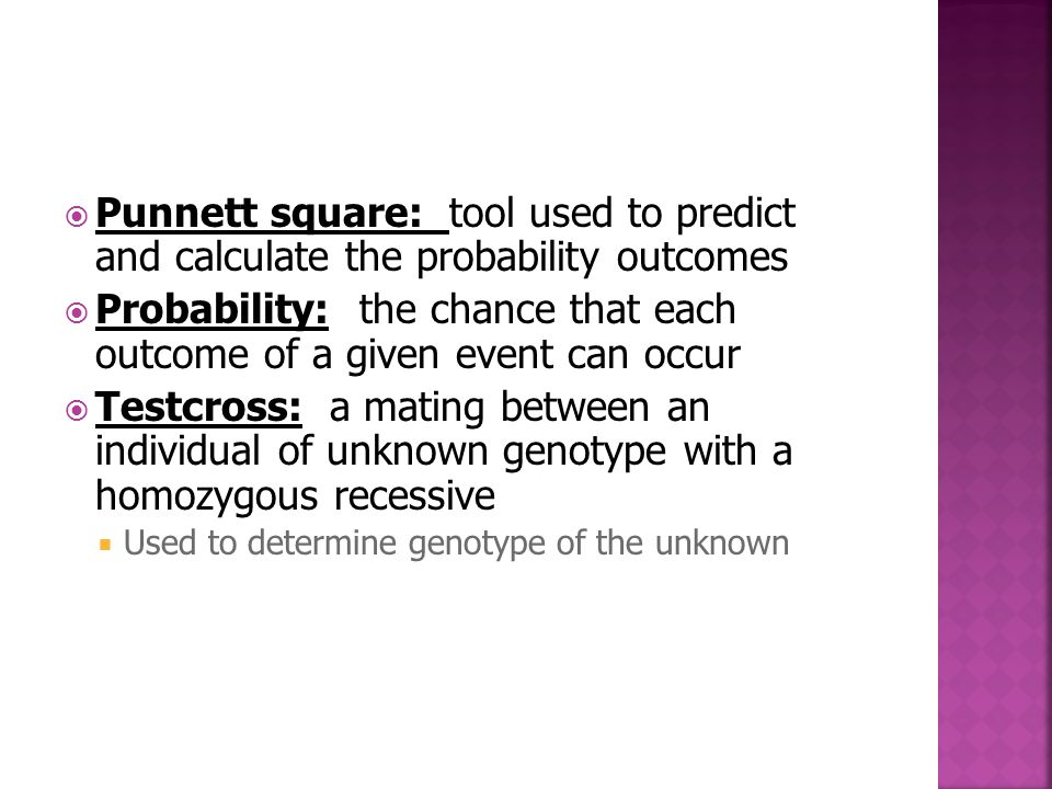 Probability: the chance that each outcome of a given event can occur