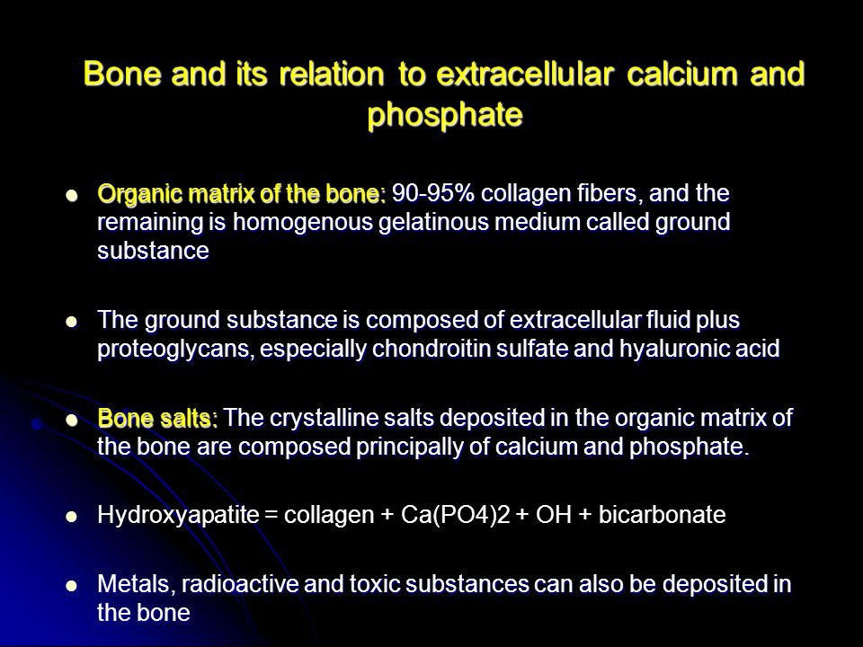Bone and its relation to extracellular calcium and phosphate