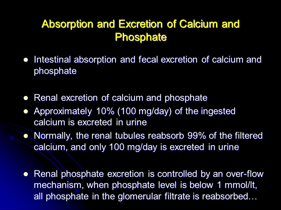 Absorption and Excretion of Calcium and Phosphate