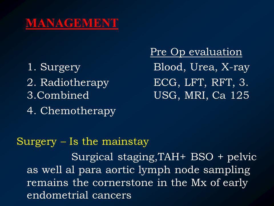 MANAGEMENT Pre Op evaluation 1. Surgery Blood, Urea, X-ray
