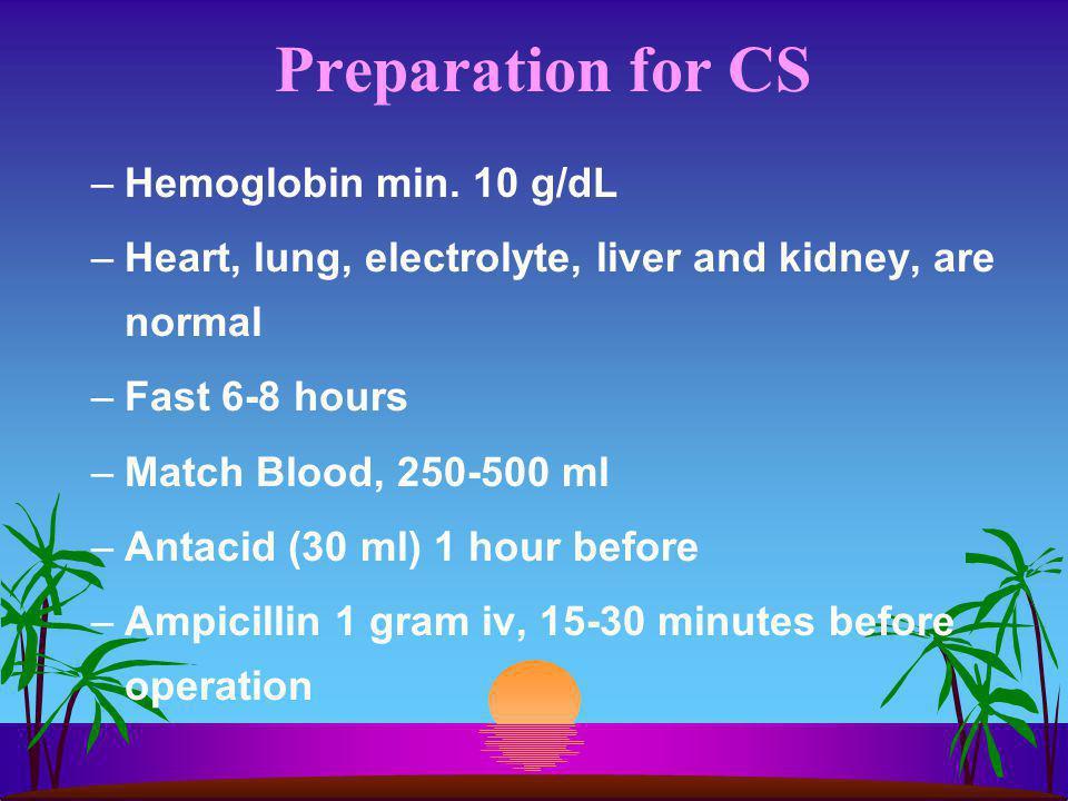 Preparation for CS Hemoglobin min. 10 g/dL