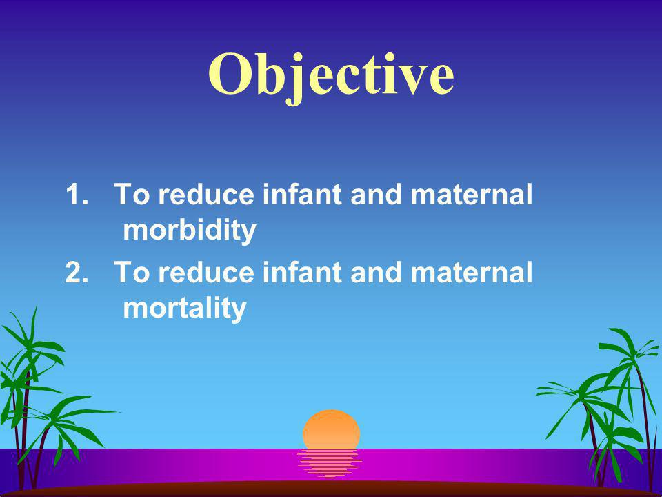 Objective 1. To reduce infant and maternal morbidity