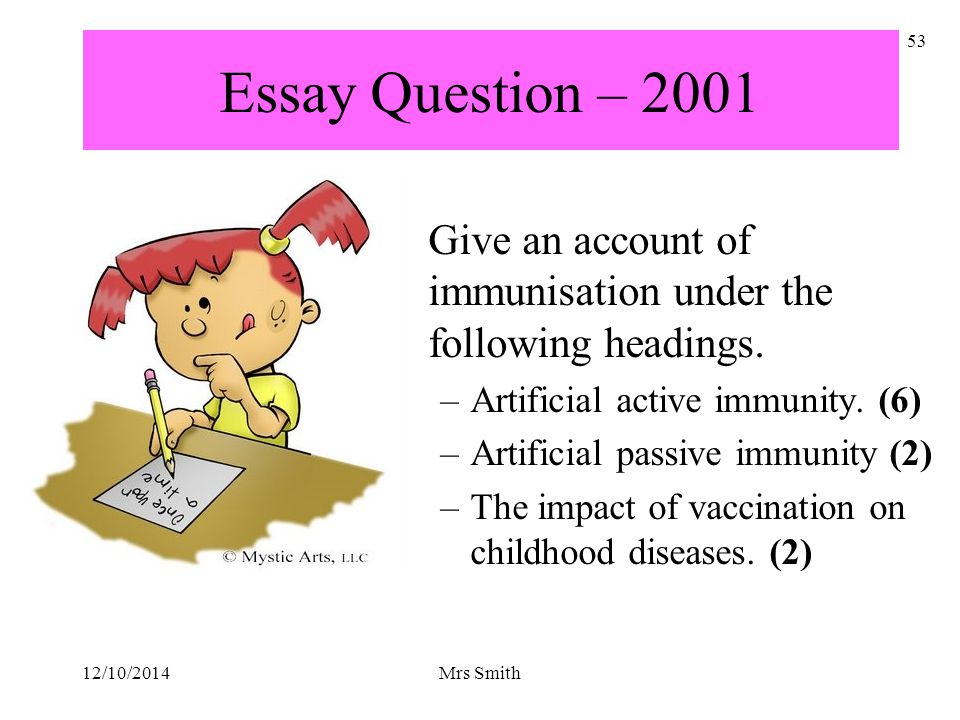 Essay Question – 2001 Give an account of immunisation under the following headings. Artificial active immunity. (6)