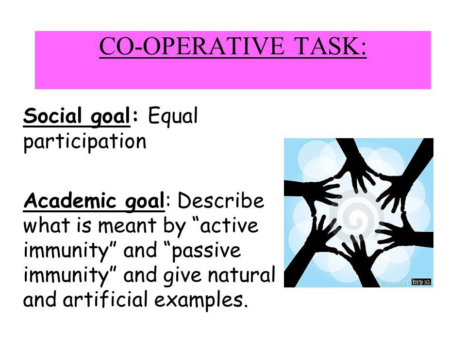CO-OPERATIVE TASK: Social goal: Equal participation