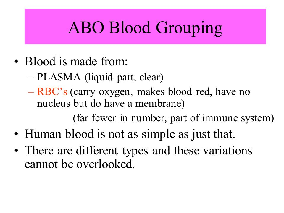 ABO Blood Grouping Blood is made from: