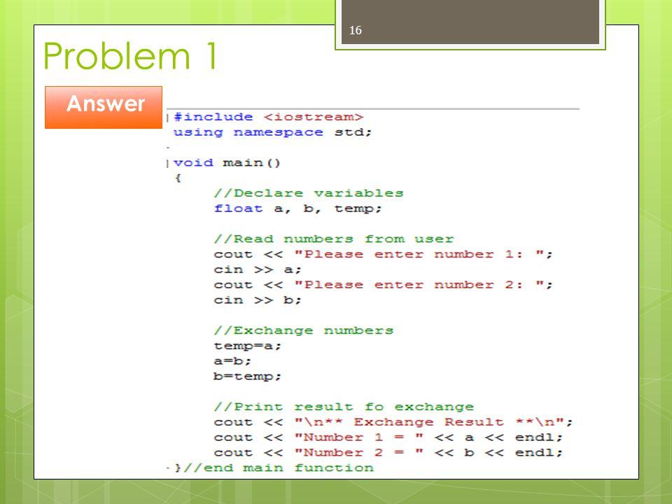 Problem 1 Answer