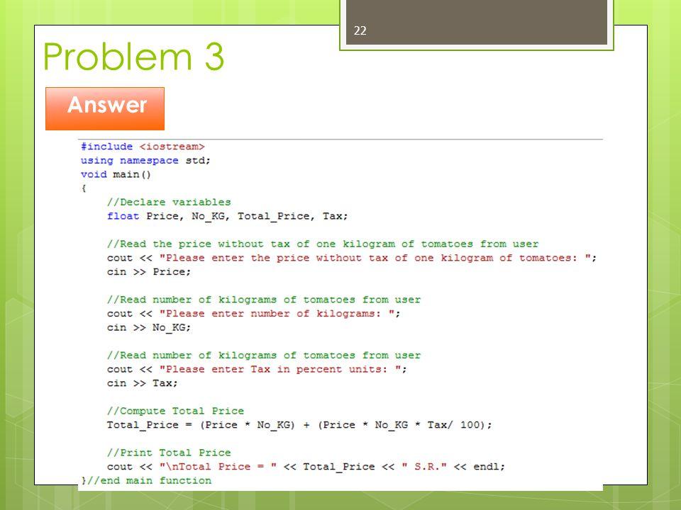 Problem 3 Answer