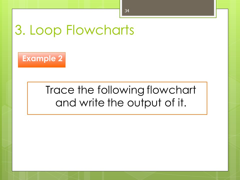 Trace the following flowchart and write the output of it.