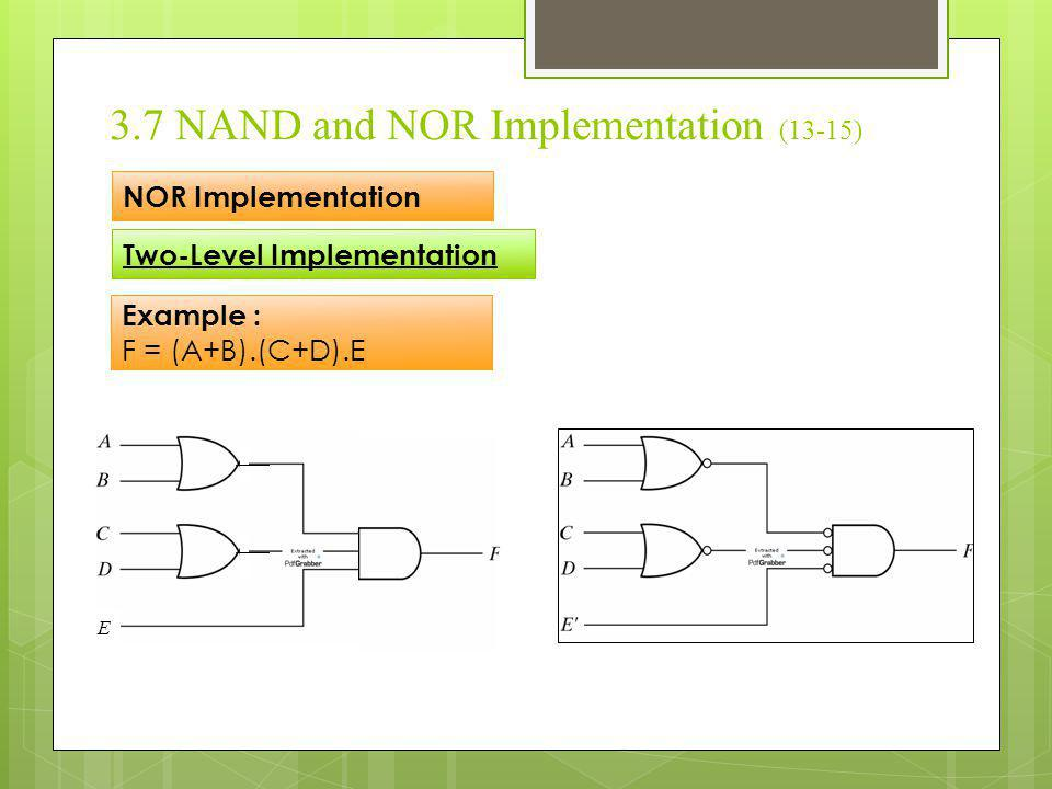 3.7 NAND and NOR Implementation (13-15)