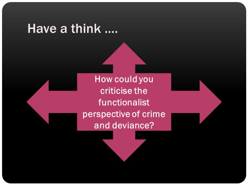 Have a think .... How could you criticise the functionalist perspective of crime and deviance