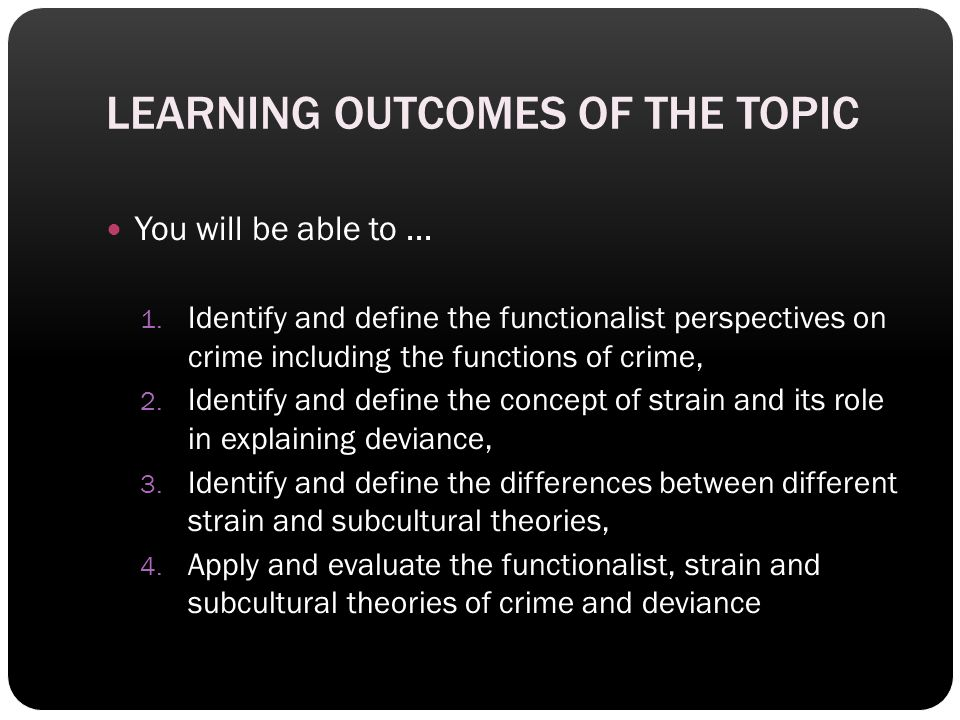 LEARNING OUTCOMES OF THE TOPIC