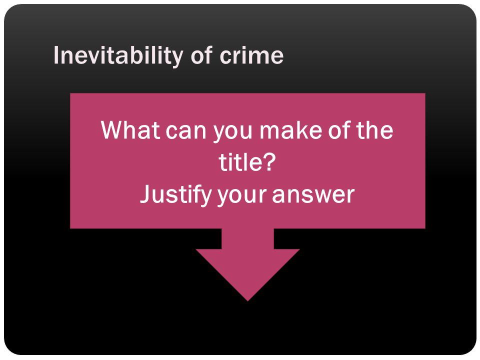 Inevitability of crime