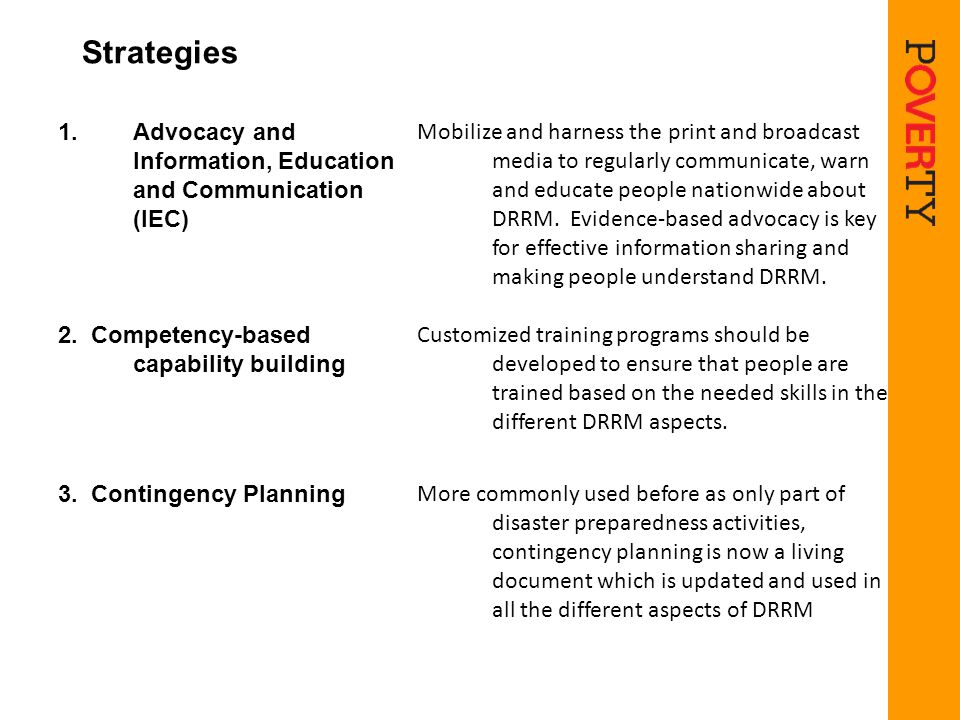 Strategies Advocacy and Information, Education and Communication (IEC)
