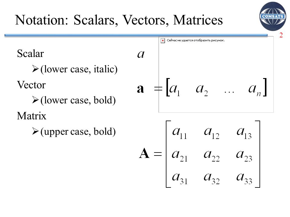 Notation: Scalars, Vectors, Matrices