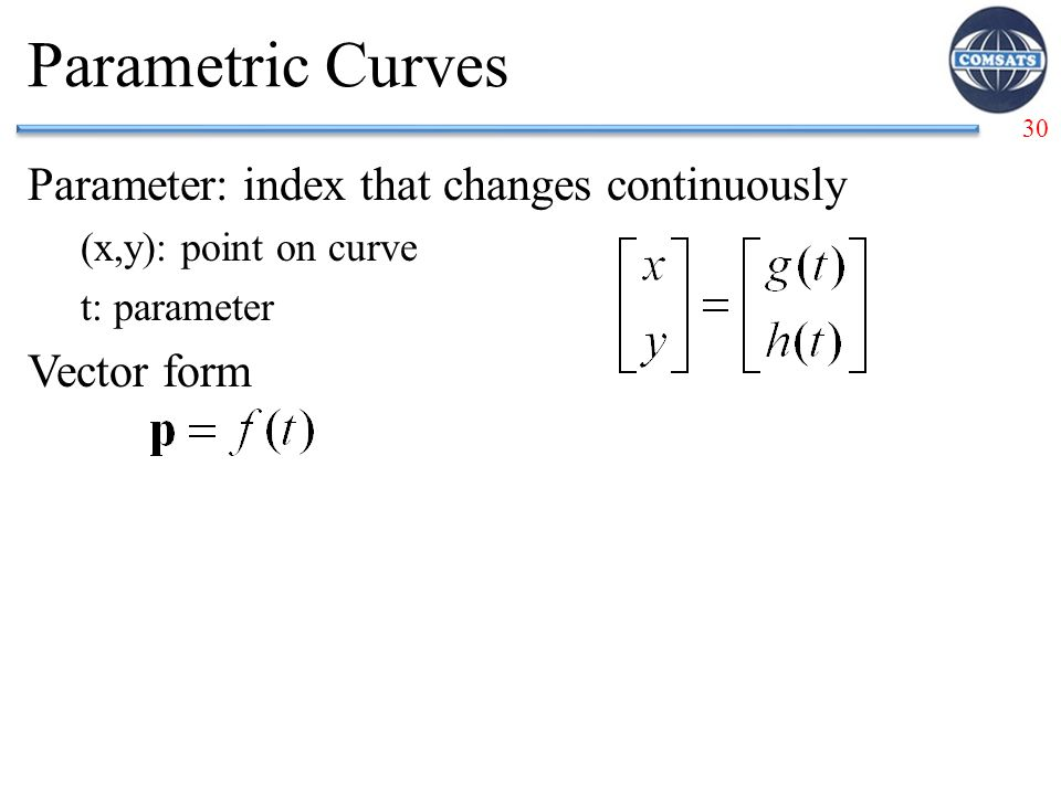 Parametric Curves Parameter: index that changes continuously