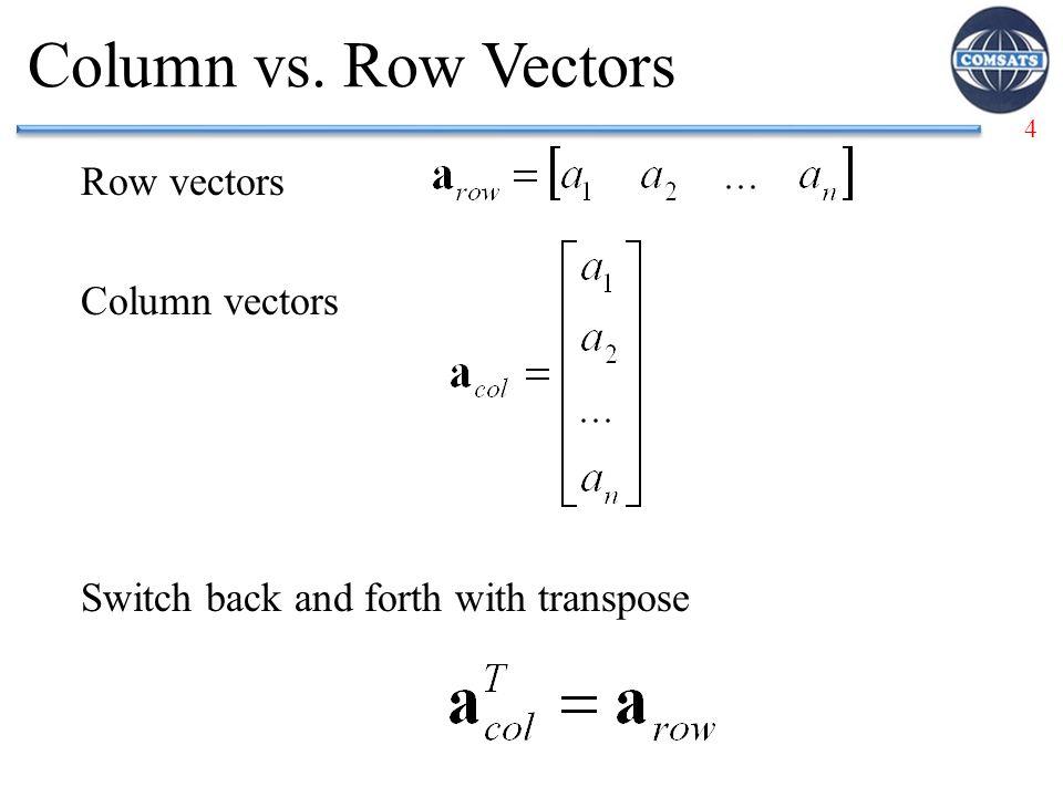Column vs. Row Vectors Row vectors Column vectors