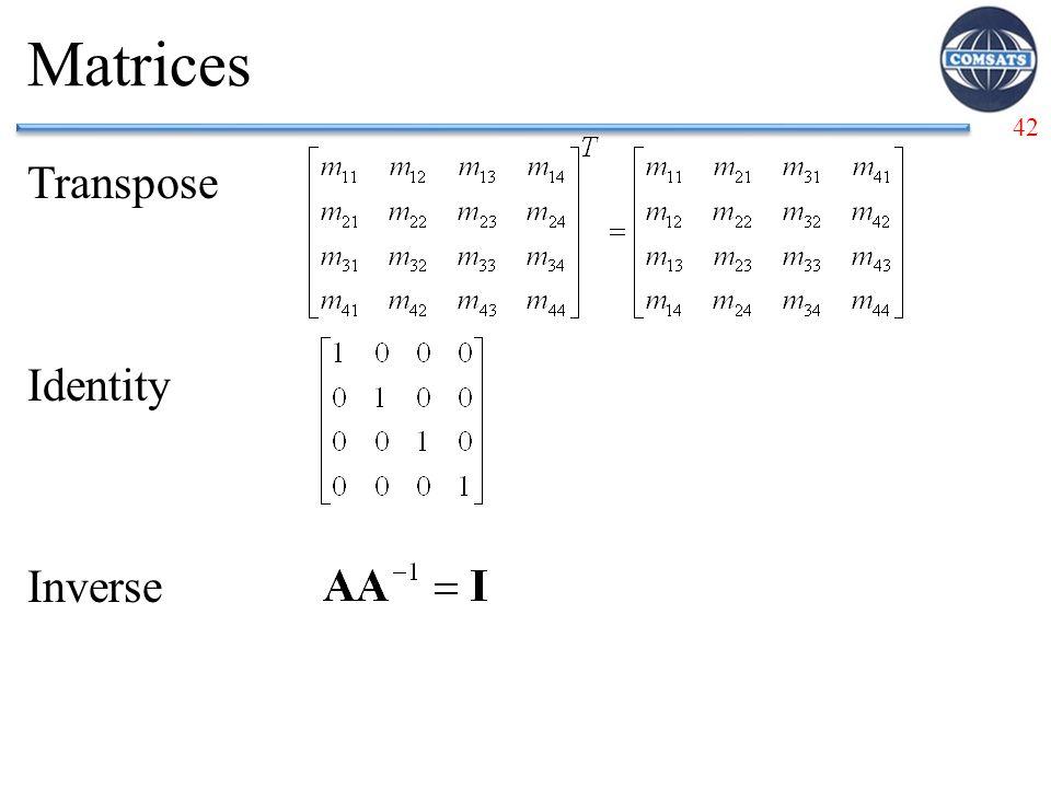 Matrices Transpose Identity Inverse