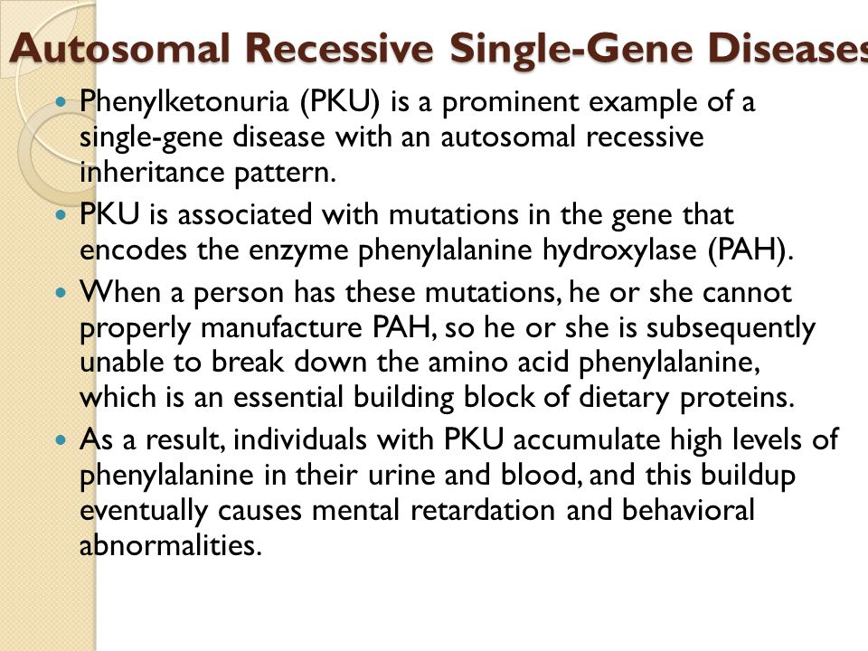 Autosomal Recessive Single-Gene Diseases