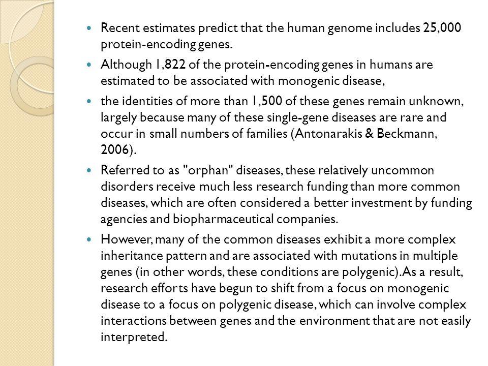 Recent estimates predict that the human genome includes 25,000 protein-encoding genes.