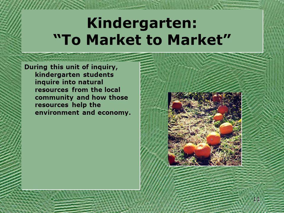 Kindergarten: To Market to Market