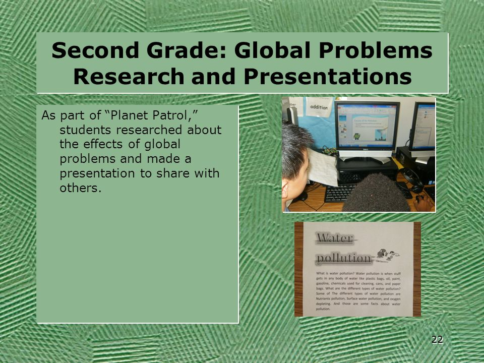 Second Grade: Global Problems Research and Presentations