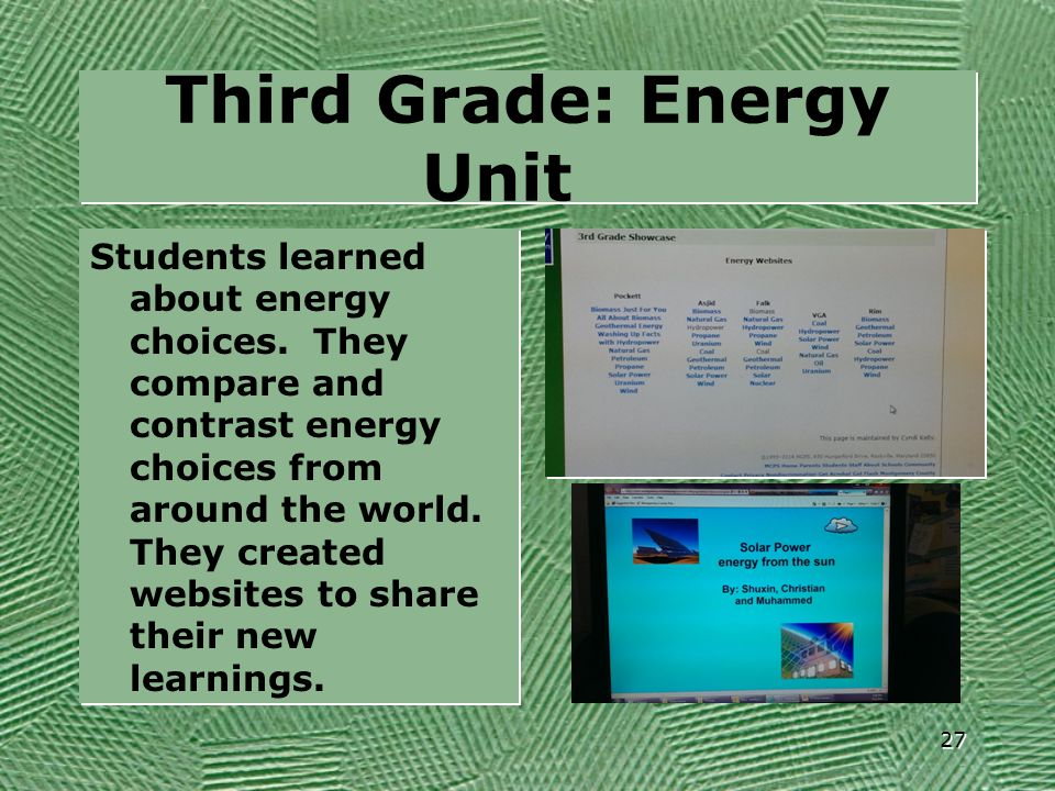 Third Grade: Energy Unit