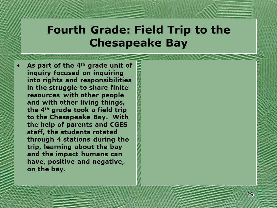 Fourth Grade: Field Trip to the Chesapeake Bay