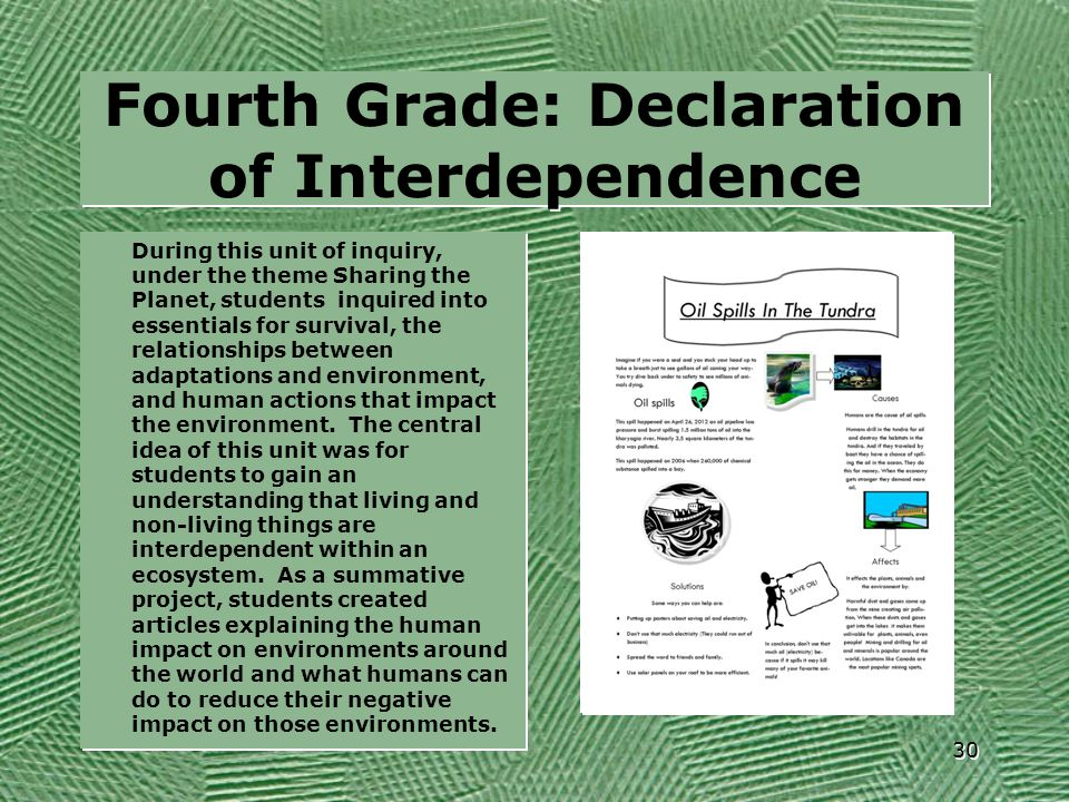 Fourth Grade: Declaration of Interdependence