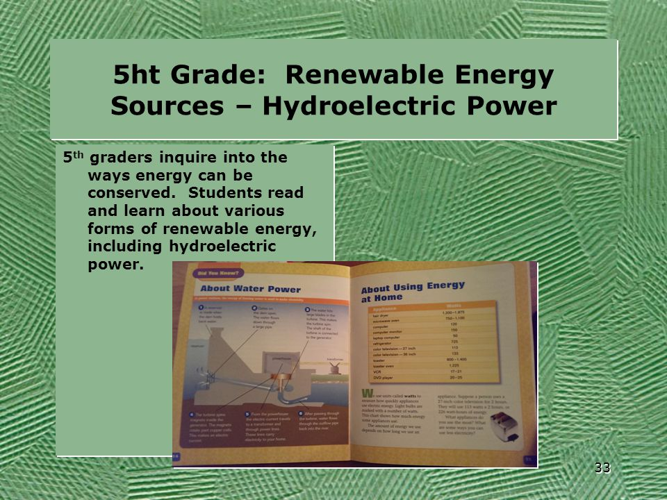 5ht Grade: Renewable Energy Sources – Hydroelectric Power
