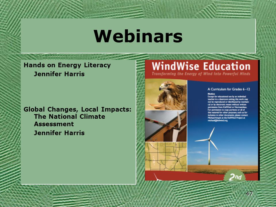 Webinars Hands on Energy Literacy Jennifer Harris