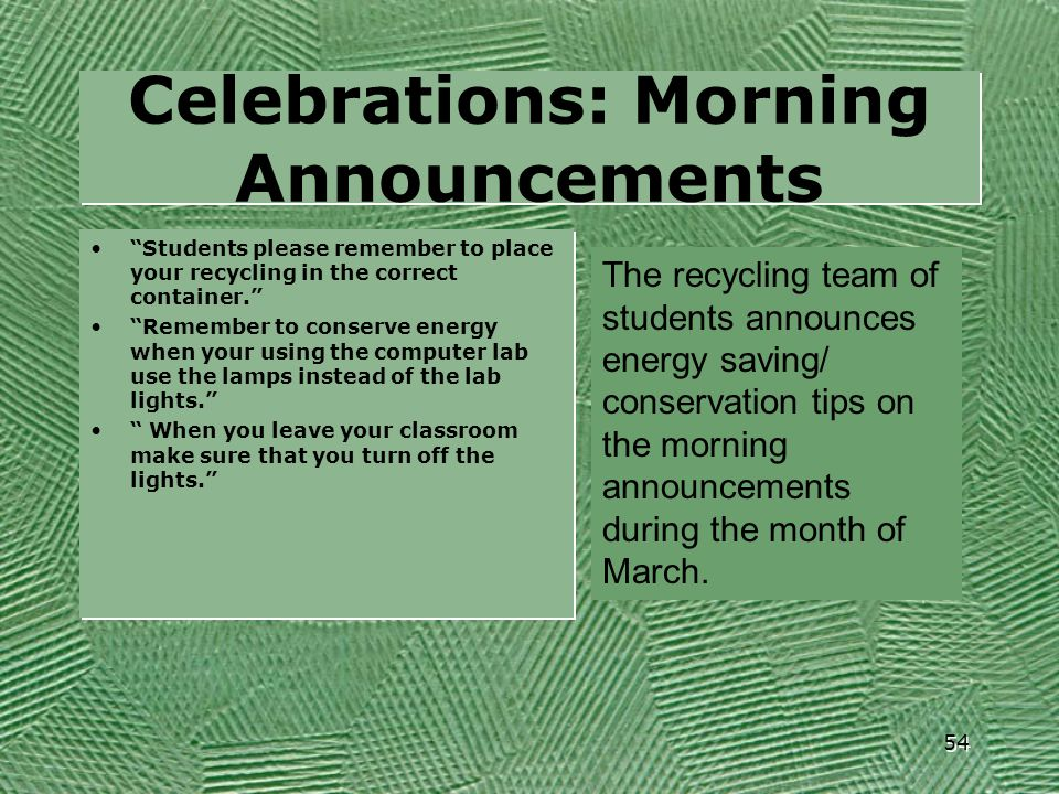 Celebrations: Morning Announcements