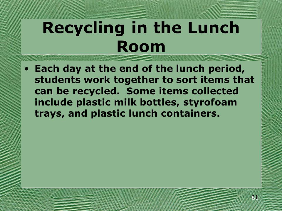 Recycling in the Lunch Room