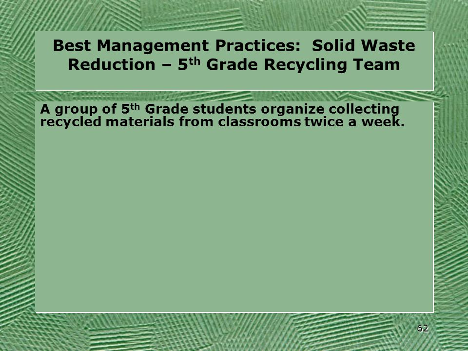 Best Management Practices: Solid Waste Reduction – 5th Grade Recycling Team